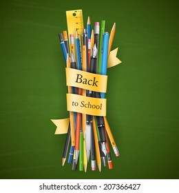 Batch of pencils and pens vector illustration with title Back to School
