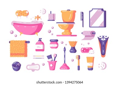 Bath accessories set vector illustration. Collection consists of toilette utensils and equipment such as bathtub toilet mirror towel bumf shaver and various cosmetics flat concept. Isolated on white