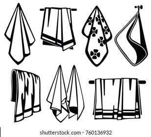 Bath, beach and kitchen soft fabric towels vector black icons. Collection of towel for beach and bath illustration