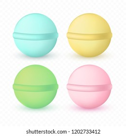 Bath bomb set isolated on transparent background. Mint, yellow, green, pink cosmetic spa balls with shadows. Vector illustration.