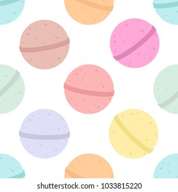 Bath bomb. Vector cartoon background. Seamless pattern