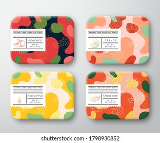 Bath Care Cosmetics Boxes Set. Vector Wrapped Containers Label Cover Collection. Packaging with Hand Drawn Peach, Orange, Tangerine and Pineapple. Abstract Camo Background Pattern Layout. Isolated.