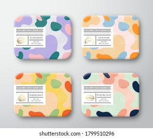 Bath Care Cosmetics Boxes Set. Vector Wrapped Containers Label Cover Collection. Packaging with Hand Drawn Almond, Hazelnut, Cashew, Pistachio Nuts. Abstract Camo Background Pattern Layout. Isolated.