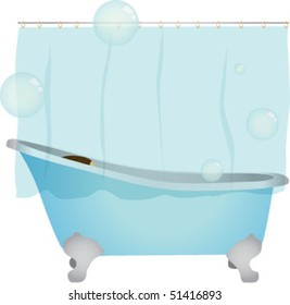 Bath with curtain and bubbles