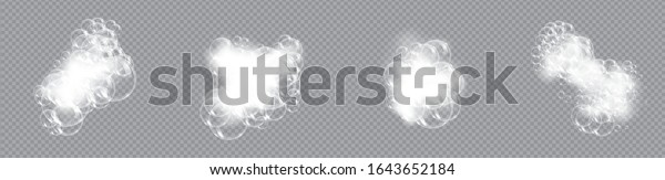 Bath foam soap with bubbles isolated vector illustration on transparent background. Set of shampoo and soap foam lather vector illustration