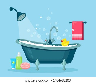 Bath full of foam with bubbles isolated on background. Bathroom interior. Shower taps, soap, bathtub, rubber duck and pink towel. Comfortable equipment for bathing and relaxing. Vector flat design