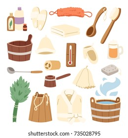 Bath house sauna hot water spa termal steam healthcare concept bathroom broom and bucket vector illustration