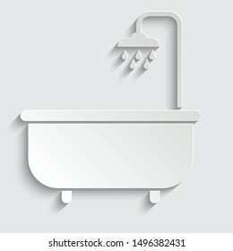 bath icon.  bathtub   paper icon  with shadow