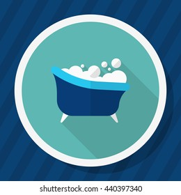 Bath icon , Vector flat long shadow design.