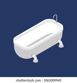 Bath Isometric Isolated. Bathroom Accessory. Vector illustration
