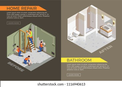 Bath room before and after construction works isometric composition with builders during repair vector illustration