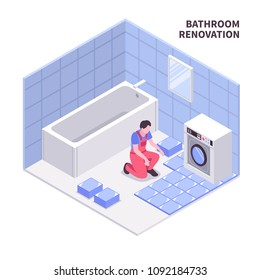 Bath room repair isometric composition in white blue color with laying tiles, sanitary equipment, vector illustration