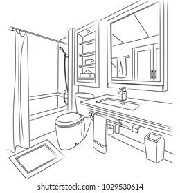 Bath Room Sketch and Outline