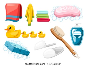 Bath and shower icon set. Pink soap bar, towels, ducks and towels. Colorful icons. Flat vector illustration isolated on white background.
