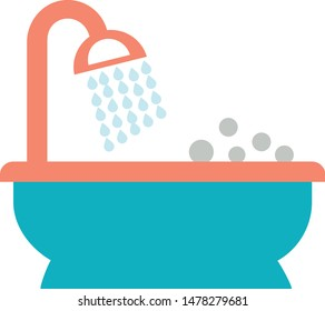 bath tab bathing bathroom trendy icon on white background for web graphic