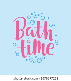 Bath time vector text, hand drawn lettering