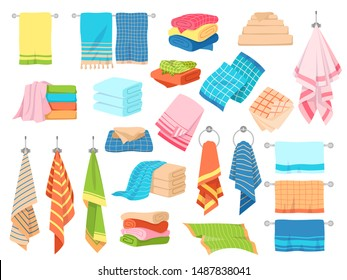 Bath towel. Hand kitchen towels, textile cloth for spa, beach, shower fabric rolls lying in stack. Cartoon vector hygiene objects clothing softness blanket hanging handkerchief set