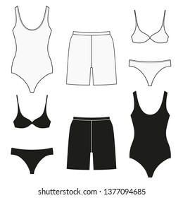 Bathing clothes for women and men. Set of flat isolated icons on white background.
