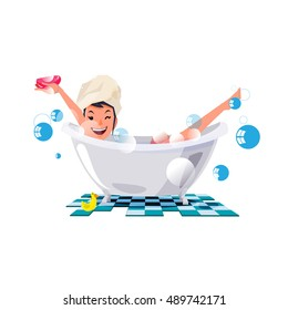 bathing girl. sexy girl on the bathtub. character design - vector illustration