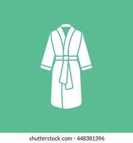 Bathrobe Flat Icon On Green Background