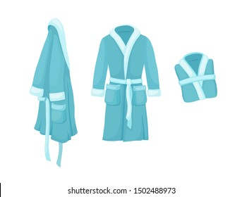 Bathrobe vector isolated on white background. Cartoon style blue bath robe set.