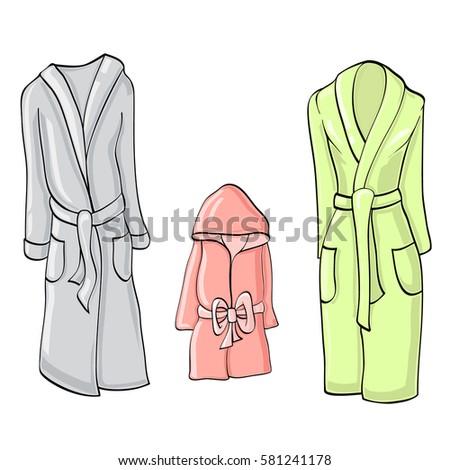 9a4459b014 Bathrobes Whole Family Set Womens Bathrobe Stock Vector (Royalty ...