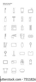 Bathroom amenities icon set