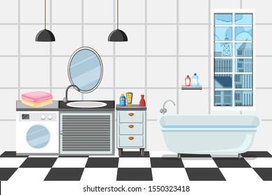 Bathroom with bathtub and sink illustration