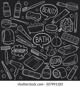 Bathroom Beauty Chalk Objects Doodle Icons Hand Made