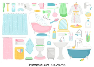 Bathroom cartoon elements. Vector bath room interior furniture and hygiene accessories, bath and towel, soap and toothbrush