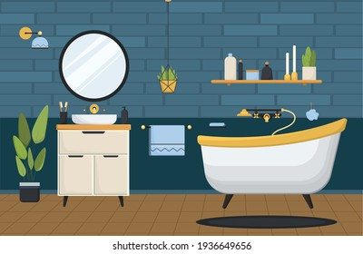 Bathroom. Clean bathroom with bathtub with sink and accessories in a modern style. Flat vector illustration. Modern bathroom interior with bathtub. Bathroom with furniture.