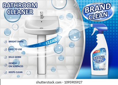 Bathroom cleaners ad poster, spray bottle mockup with liquid detergent for bathroom sink and toilet with bubbles and white background. 3d Vector illustration