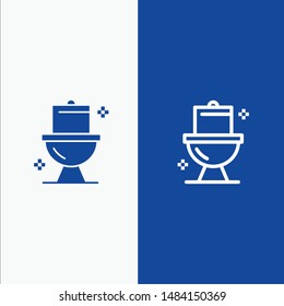 Bathroom, Cleaning, Toilet, Washroom Line and Glyph Solid icon Blue banner Line and Glyph Solid icon Blue banner. Vector Icon Template background