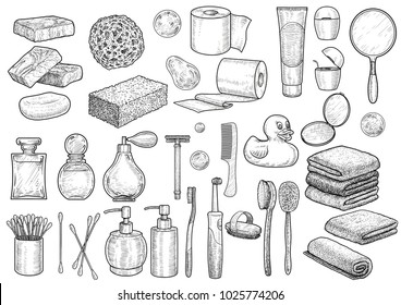 Bathroom collection illustration, drawing, engraving, ink, line art, vector