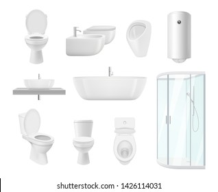 Bathroom collection. Washroom toilet sink modern white objects of bathroom vector realistic pictures. Washroom and bathroom, sink and toilet illustration