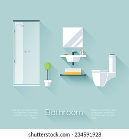 Bathroom cover with shower, sink and toilet. Flat style with long shadows. Modern trendy design. Vector illustration.