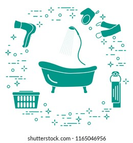 Bathroom elements: bath, shower, hairdryer, washcloths, towel, laundry basket. Design for poster or print.
