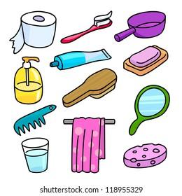 Bathroom Equipment icon set cartoon style with vector design.