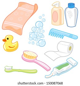 Bathroom Equipment icon set cartoon style with vector design