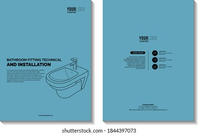 Bathroom fittings Technical Book, ceramic bidet vector lining draw, front, piece toilets, cover design vector template in A4 size. Annual report. Brochure design. Flyer promotion. Vector illustration.