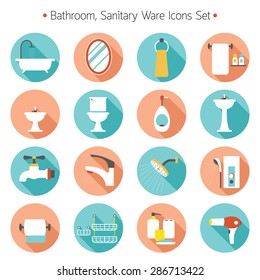 Bathroom Flat Icons Set, Toilet, Sanitary Ware Objects