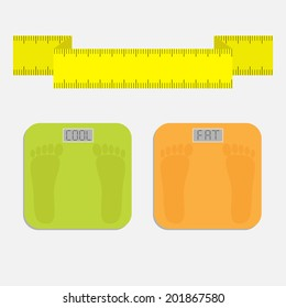 Bathroom floor electronic weight scale with word fat. Yellow measuring tape. Flat design style. Vector illustration.