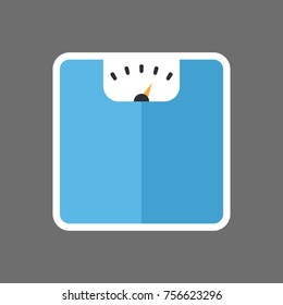 Bathroom Floor Scales Icon Weight Measure Equipment Flat Vector Illustration