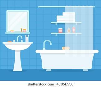 Bathroom with furniture. Cozy blue bathroom interior. Flat style vector illustration.