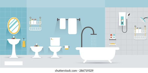 Bathroom Furniture Display Panorama, Household, Home Interior Objects