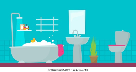 Bathroom with furniture. Flat style vector illustration.