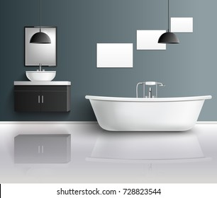Bathroom furniture interior realistic composition with modern bathroom fixtures sink mirrors and decor elements with reflexions vector illustration