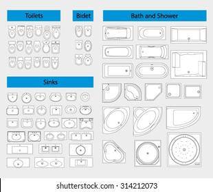 Bathroom Furniture. Sanitary equipment - toilet, sink, bath, shower. Top View. Vector icons