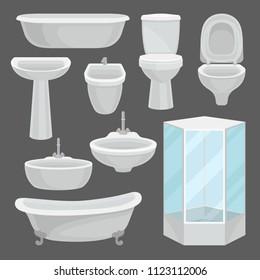 Bathroom furniture set, interior elements and lavatory equipment such as bathtub, shower cabin, toilet, sink, bidet vector Illustration
