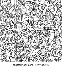Bathroom hand drawn doodles seamless pattern. WC background. Cartoon fabric print design. Line art vector illustration. All objects are separate.
